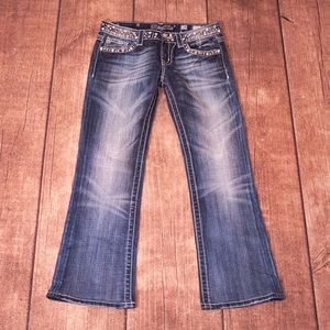 Miss Me Faded Blue Bedazzled Bootcut Jeans Size 28